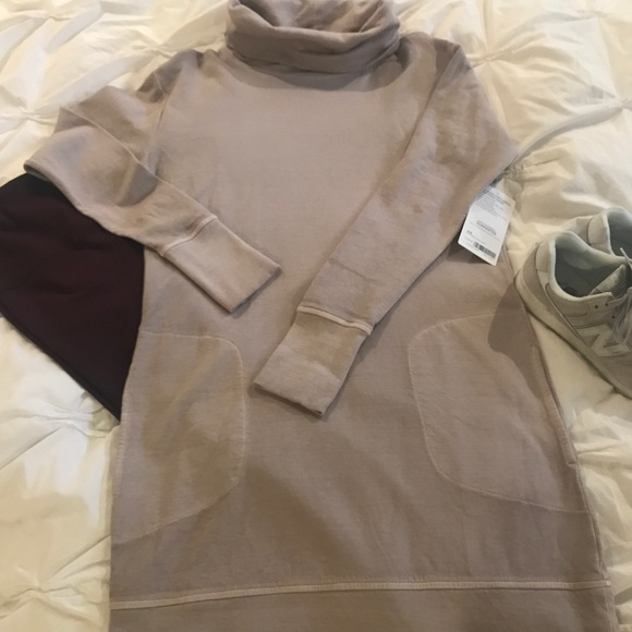 4ab0c47fd1 Athleta Eco Wash Turtleneck Sweatshirt Dress